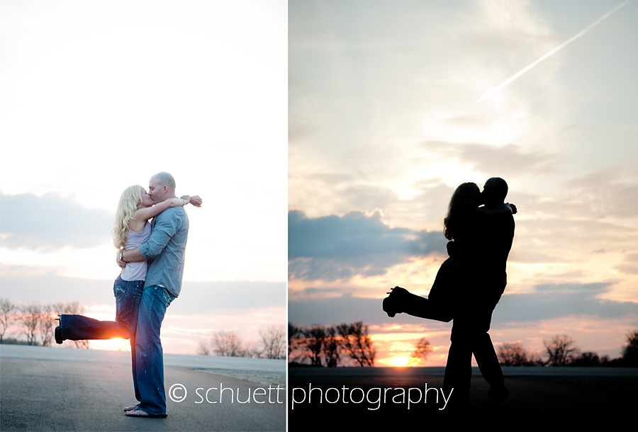 Sunset silhouette engagment photography