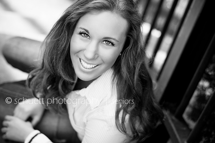 Black and White Senior Girl Photography smiling at the camera