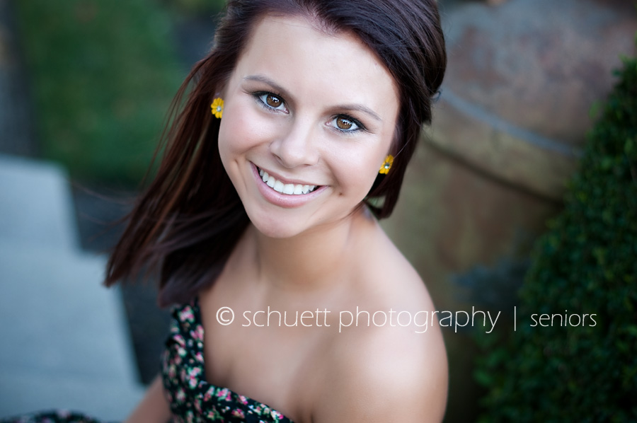 Milwaukee senior photography strapless flower dress and yellow earrings, country glamour style