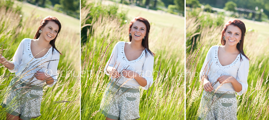 Senior pictures in Wisconsin in a beautiful tall grass field