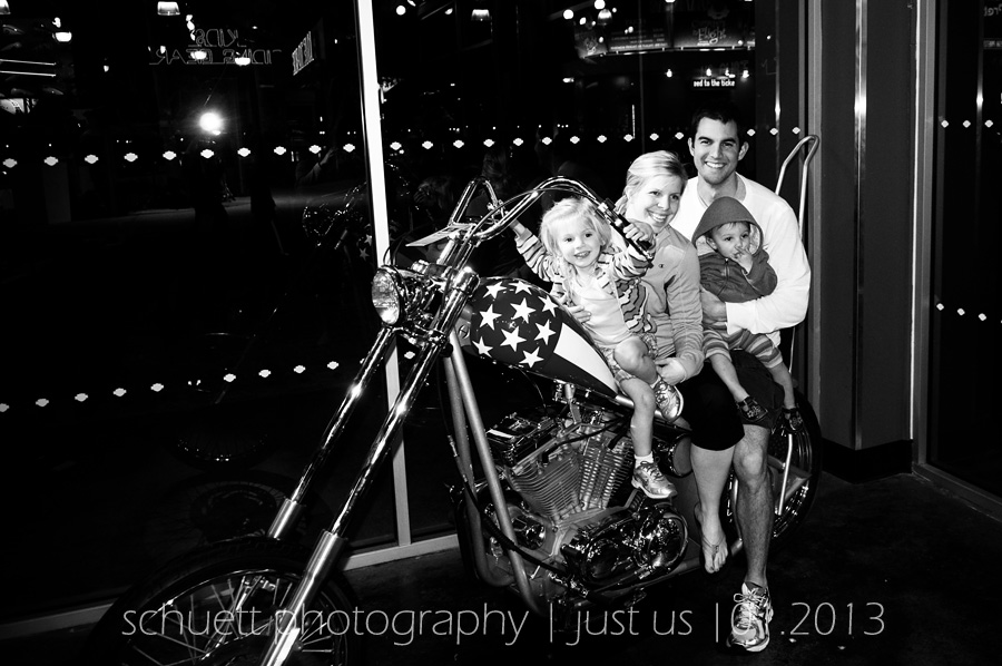 Family snapshot on a Harley Davidson at Downtown Disney in Orlando Florida