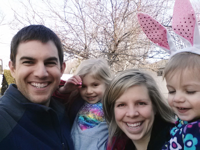 Family self picture with cellphone after the annual easter egg hunt