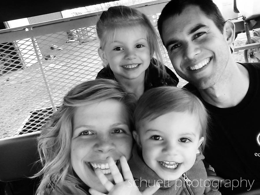 Family selfie picture at Schuett Farms in Mukwonago Wisconsin