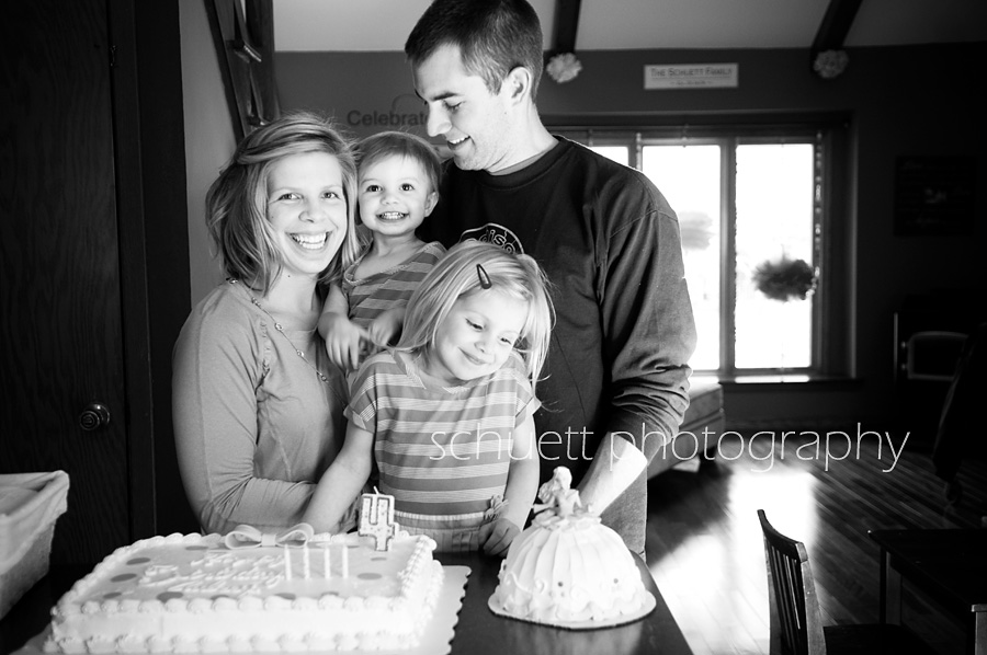 Family birthday picture in black and white