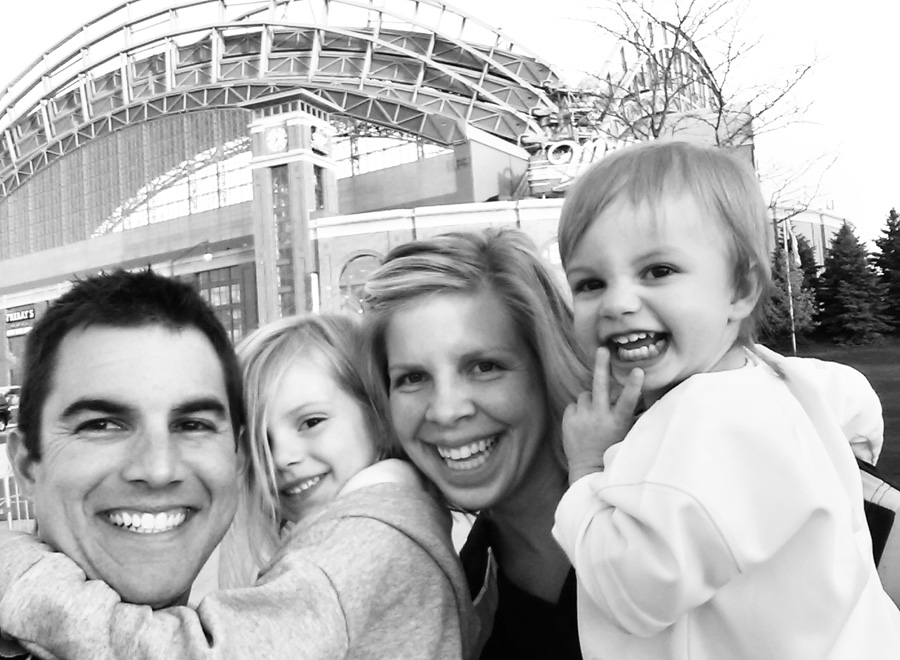 Milwaukee Brewers Miller Park Baseball game, family selfie picture at the stadium