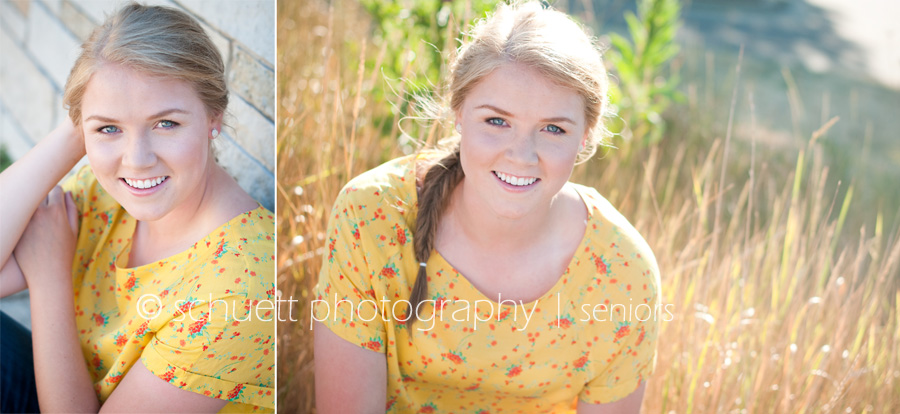 Natural posing, outdoor senior pictures with warm summer sunlight