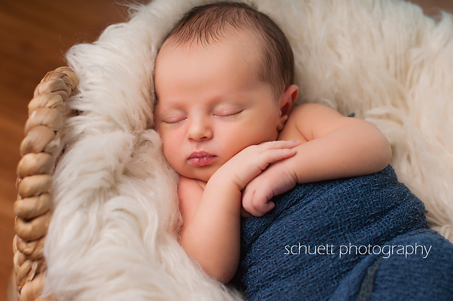 Sound asleep newborn pictures with fur blanket and blue wrap Milwaukee