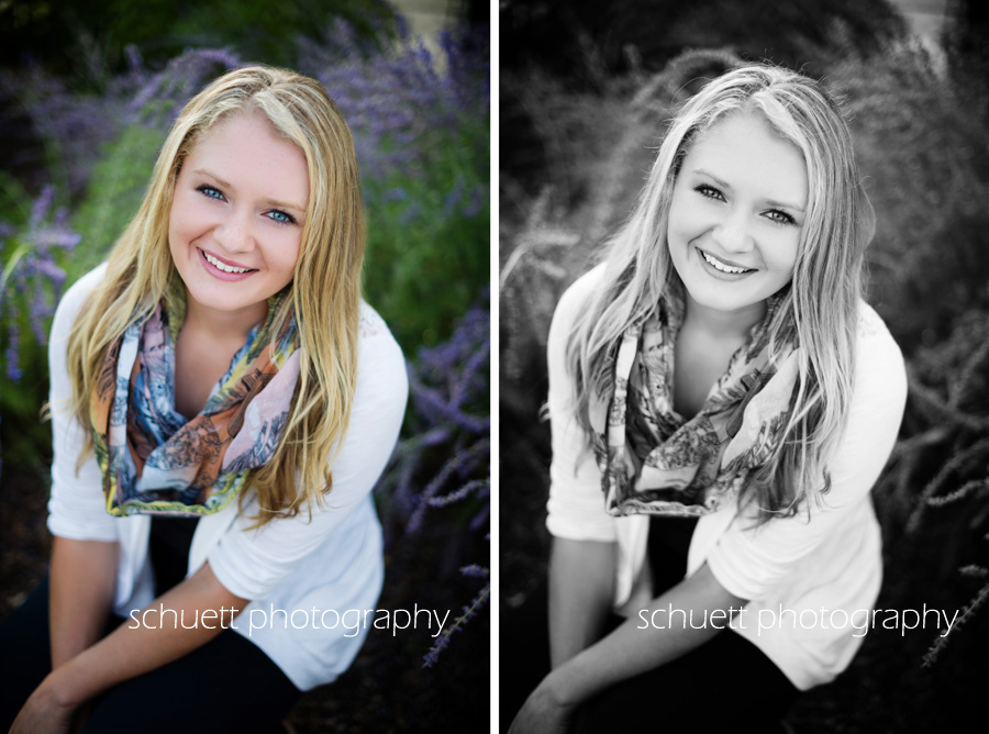 black and white bright color senior pictures catholic memorial waukesha